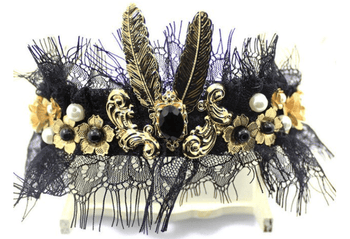 Black Lace Baroque Golden Headband