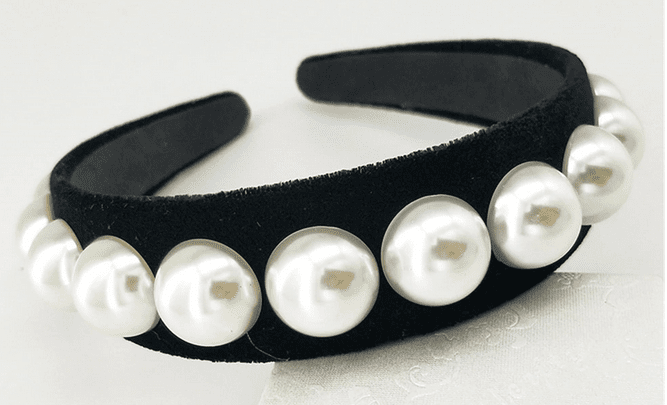 Bold Pearls on Black Velvet Band