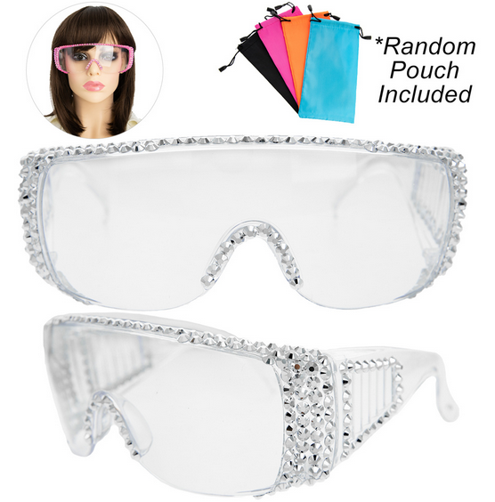 Rhinestone Pave Protective Safety Goggles -SILVER