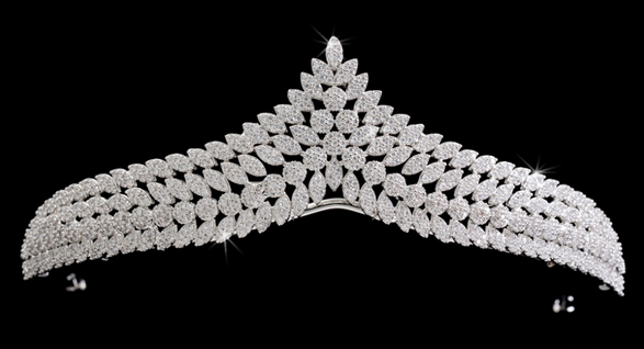 Coneflower CZ Tiara - Silver or Two Tone