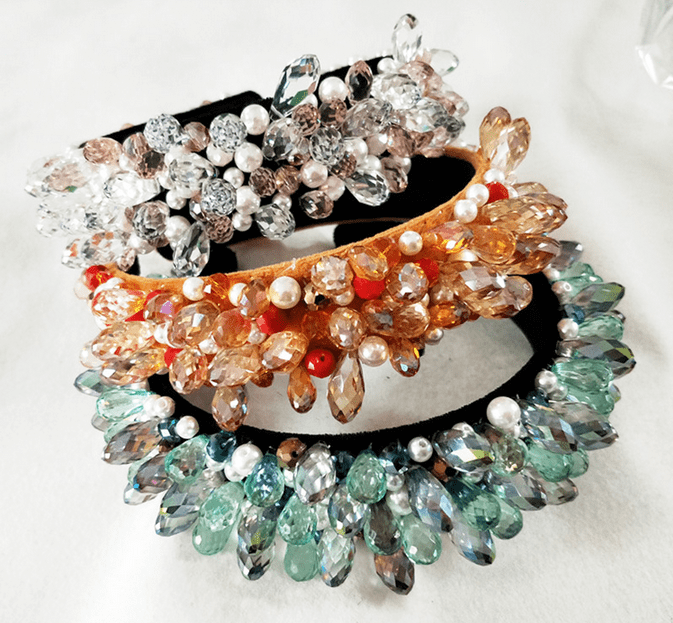 Crystal Faceted Colorful Beaded Headband - 4 colors!