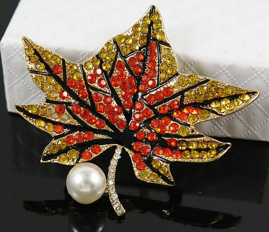 Exquisite Multi Crystal Maple Leaf Pin 2021