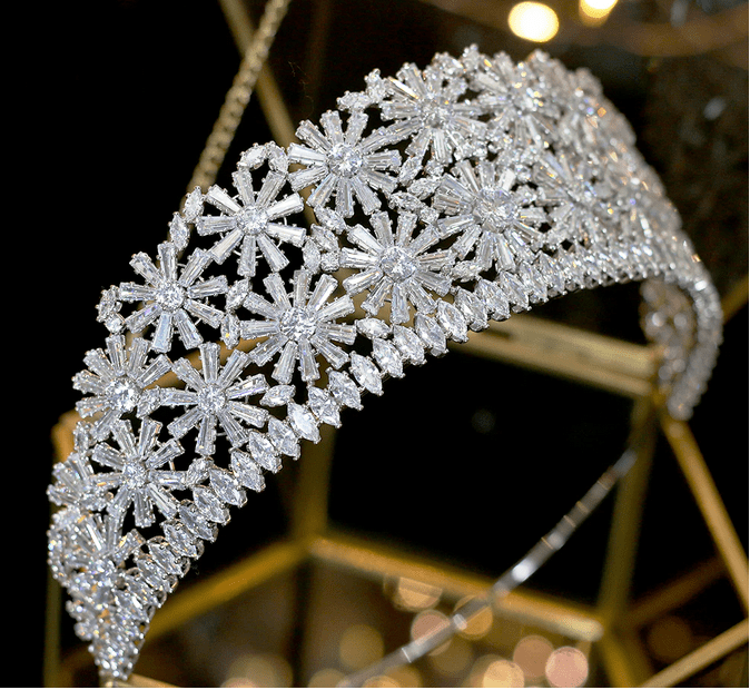 Elaborate CZ Tiara - Gold or Silver