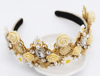 European Baroque White Floral Headband & Earring Set