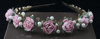 European Style Vintage Pink Floral Headband and Earring Set