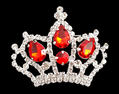 Fashion Crown Pin - Clear or Red