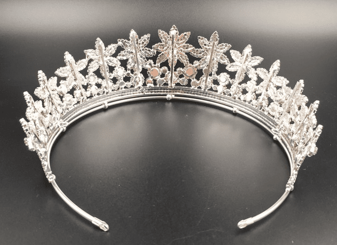 Fashion Flower CZ Tiara - Gold or Silver