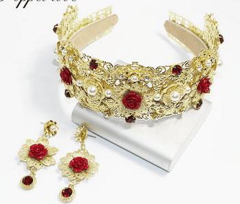 Golden Queen's Headband & Earrings Set