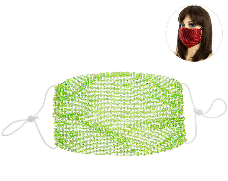 PROTECTIVE RHINESTONE FACE MASK - LIME GREEN