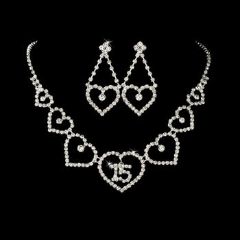 Heart Quinceanera Jewelry Set