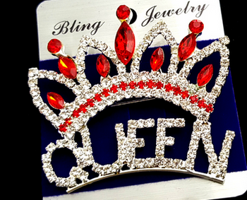 Large Crown Queen Pin - Red