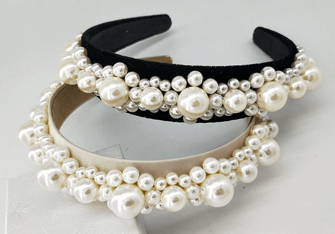 Large Pearl Clusters on Headband