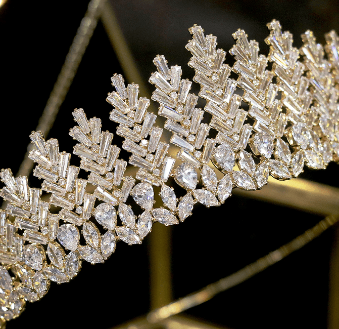 Leafy Spray CZ Tiara - Gold or Silver