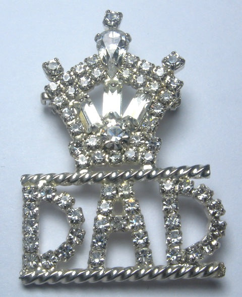 Life Crown Rhinestone Dad Pin