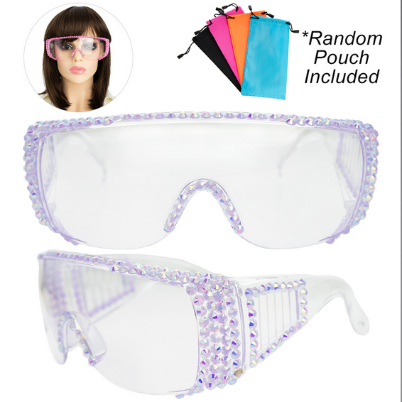 Rhinestone Pave Protective Safety Goggles -LILAC