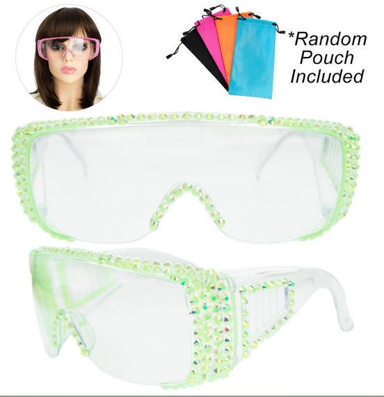 Rhinestone Pave Protective Safety Goggles -LIME GREEN