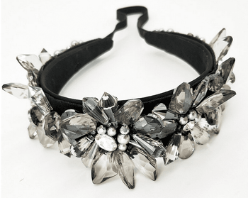 Luxury Grey Crystal Headband