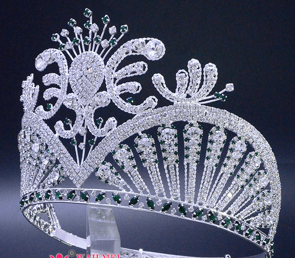 Miss Universe Tiara with Emerald Green Accents