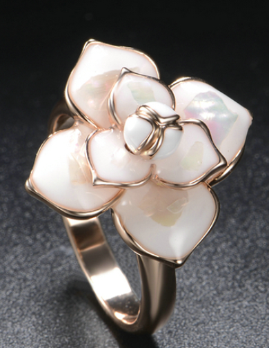 White Enamel Rose Ring Size 7-10