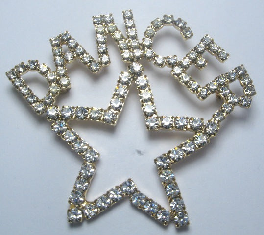 "Open Star Rhinestone Pin with 1/2"" Letters"