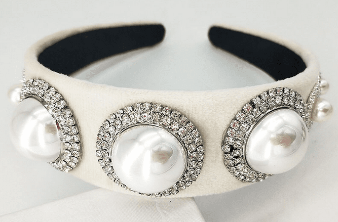 Pearl on Rhinestone Medallions - Black or White