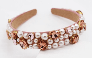 Pearls with Colored Crystals - Topaz or Rose