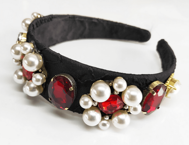 Pearls with Red Gemstones Headband