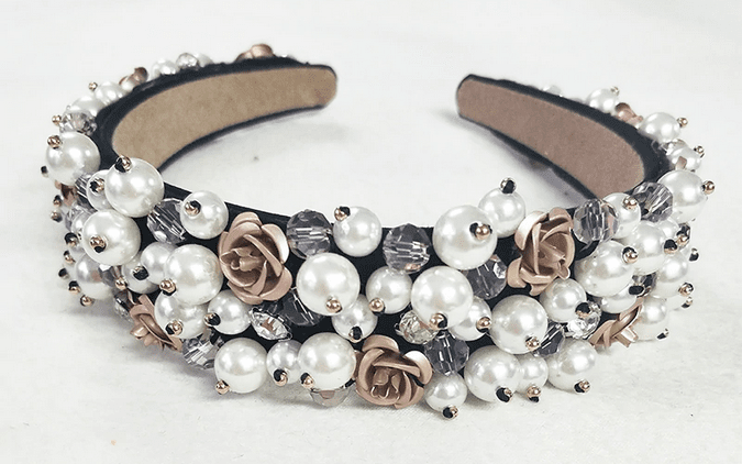 Pearls with Roses Headband