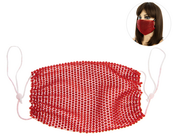 PROTECTIVE RHINESTONE FACE MASK - RED