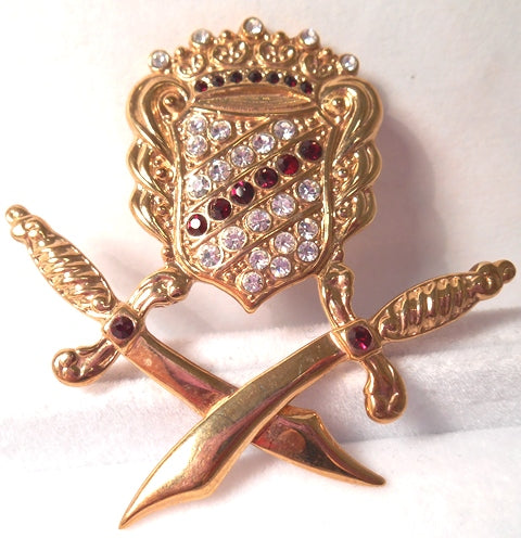 Royal Crossed Swords Pin - 4 Colors!