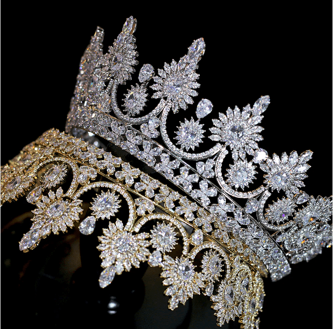 Royal Sun CZ Tiara - Gold or Silver