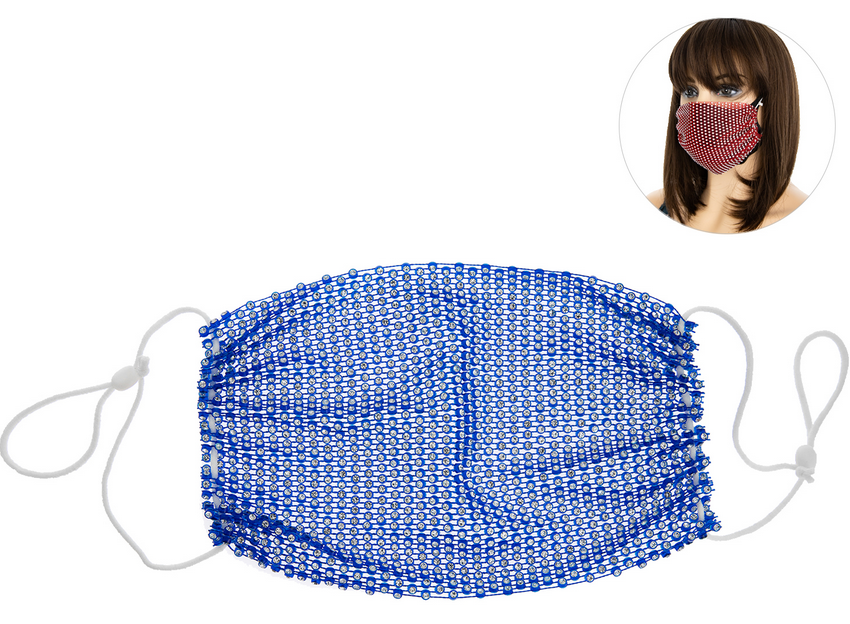 PROTECTIVE RHINESTONE FACE MASK -ROYAL BLUE