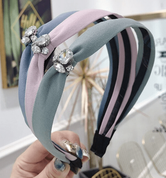 Soft Fabric Headband with Rhinestone Accents - 5 colors!