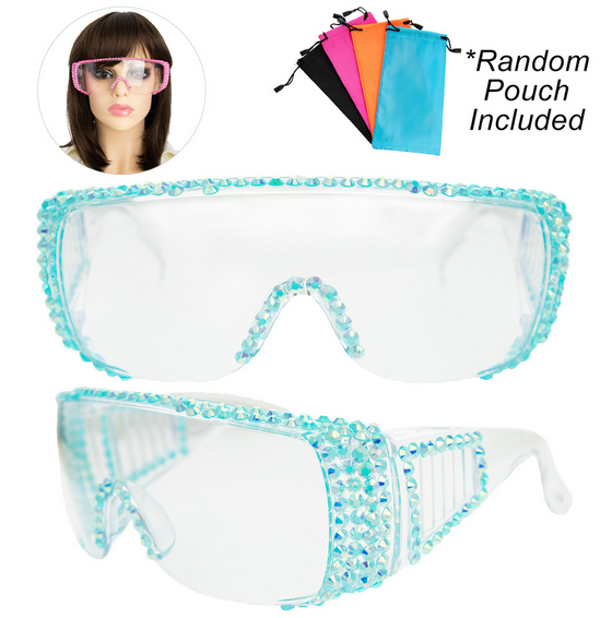 Rhinestone Pave Protective Safety Goggles -TURQUOISE