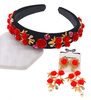 Vintage Red Rose Headband/Earring Set