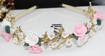 Vintage Rhinestone Floral Headband & Earrings