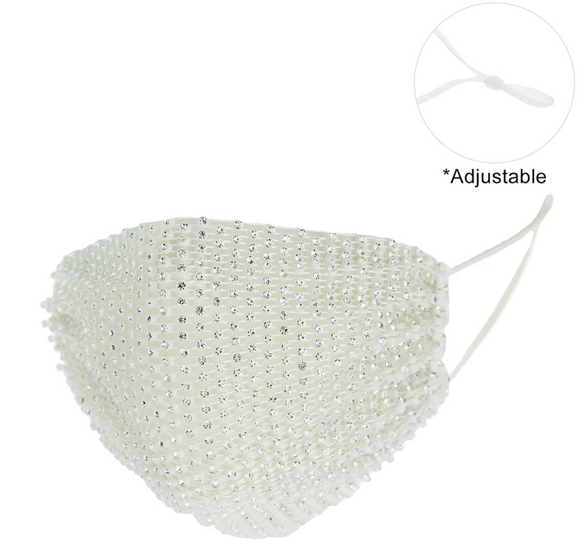 PROTECTIVE RHINESTONE FACE MASK -WHITE/CLEAR