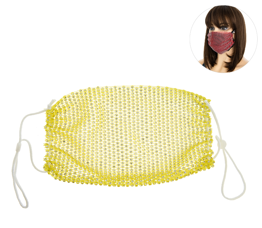 PROTECTIVE RHINESTONE FACE MASK -YELLOW