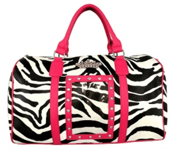 Zebra Crown Duffle Bag - Black or Pink Trim