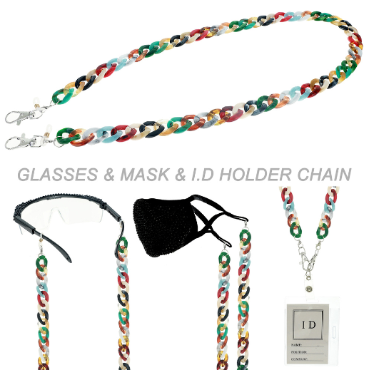 PLASTIC CHAIN MASK HOLDER - BLACK OR MULTI