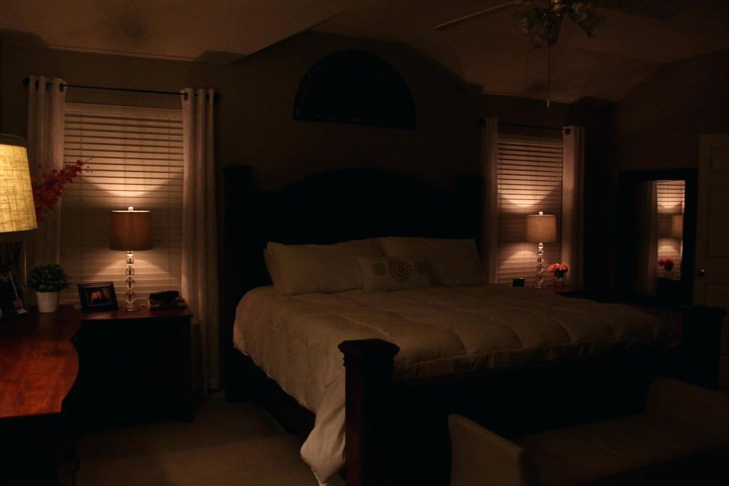 Dimply lit room to create an atmosphere of rest