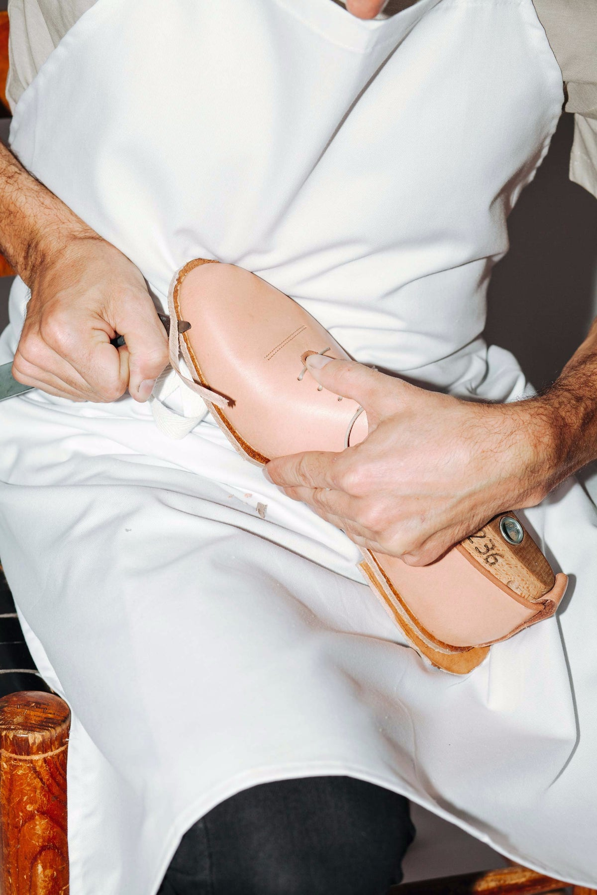 handcrafting a pair of soft wholecut natural leather shoes