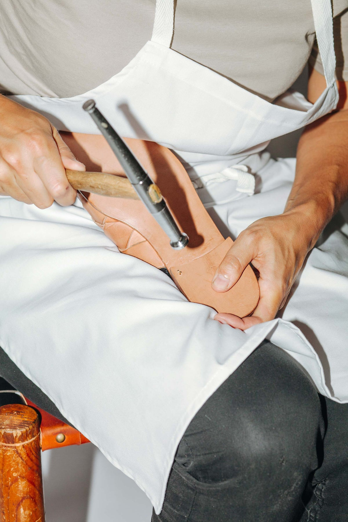 Making a leather sandal by hand