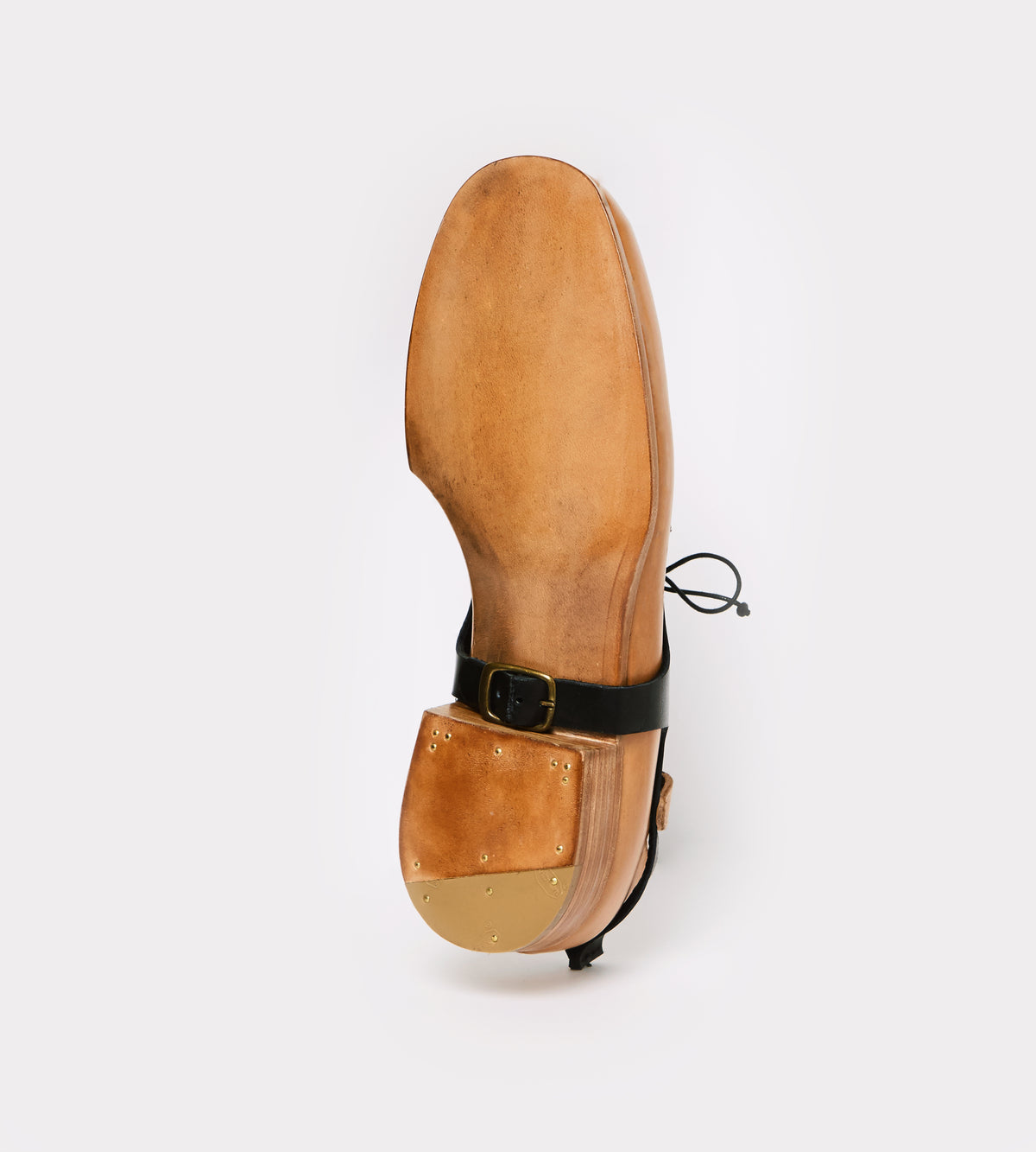 Black-natural calf leather derby botton view