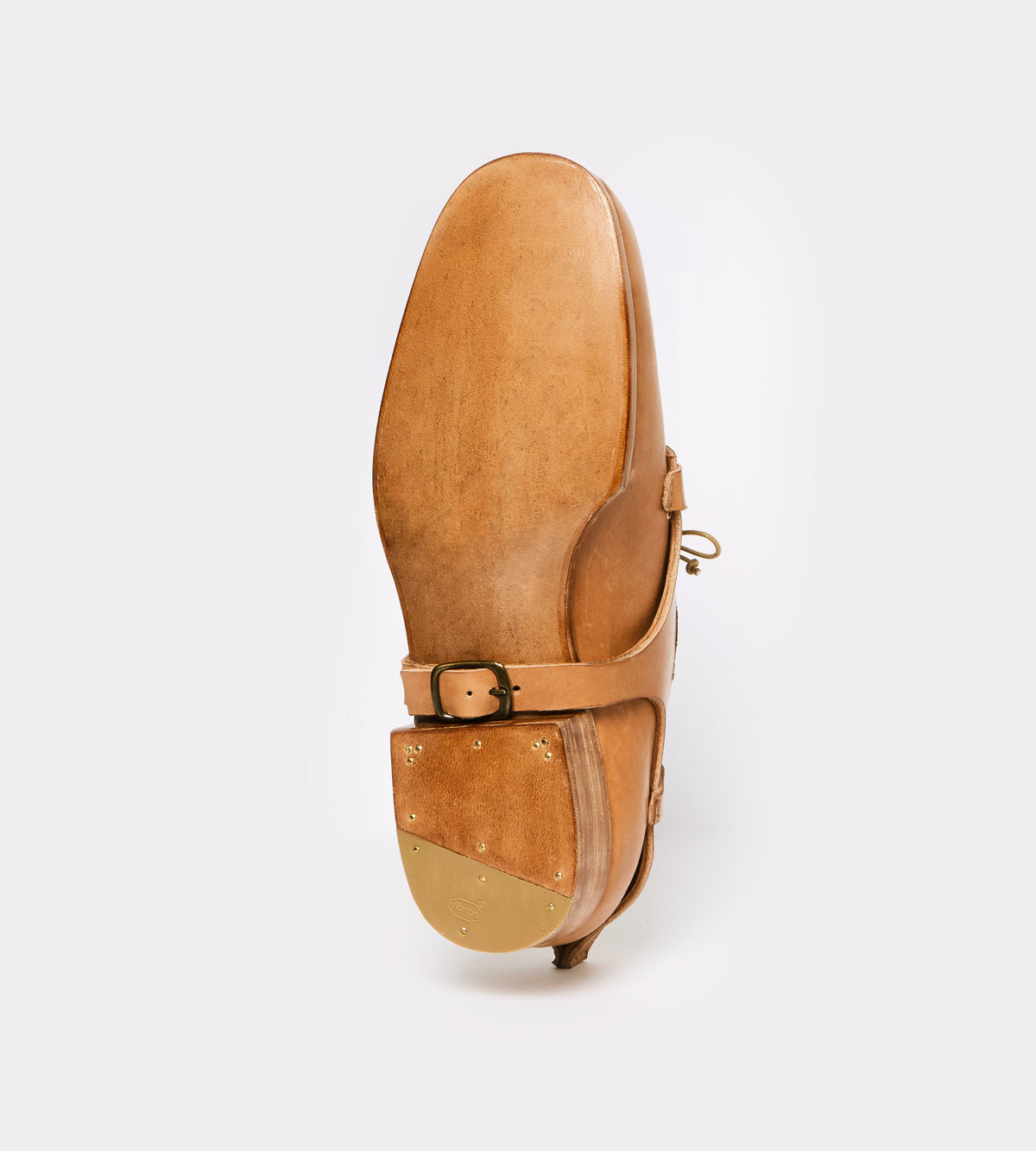 Natural calf leather derby botton view