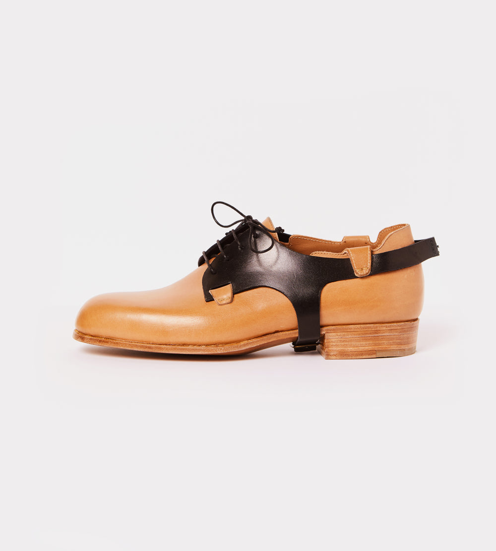 Black-natural calf leather derby outside view