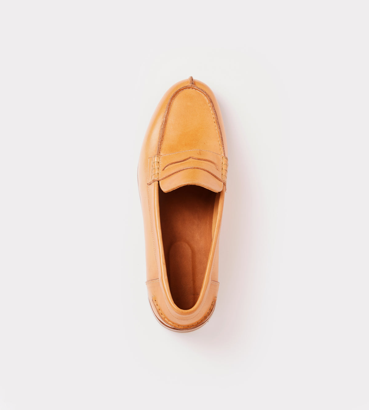 Natural calf leather moccasin top view