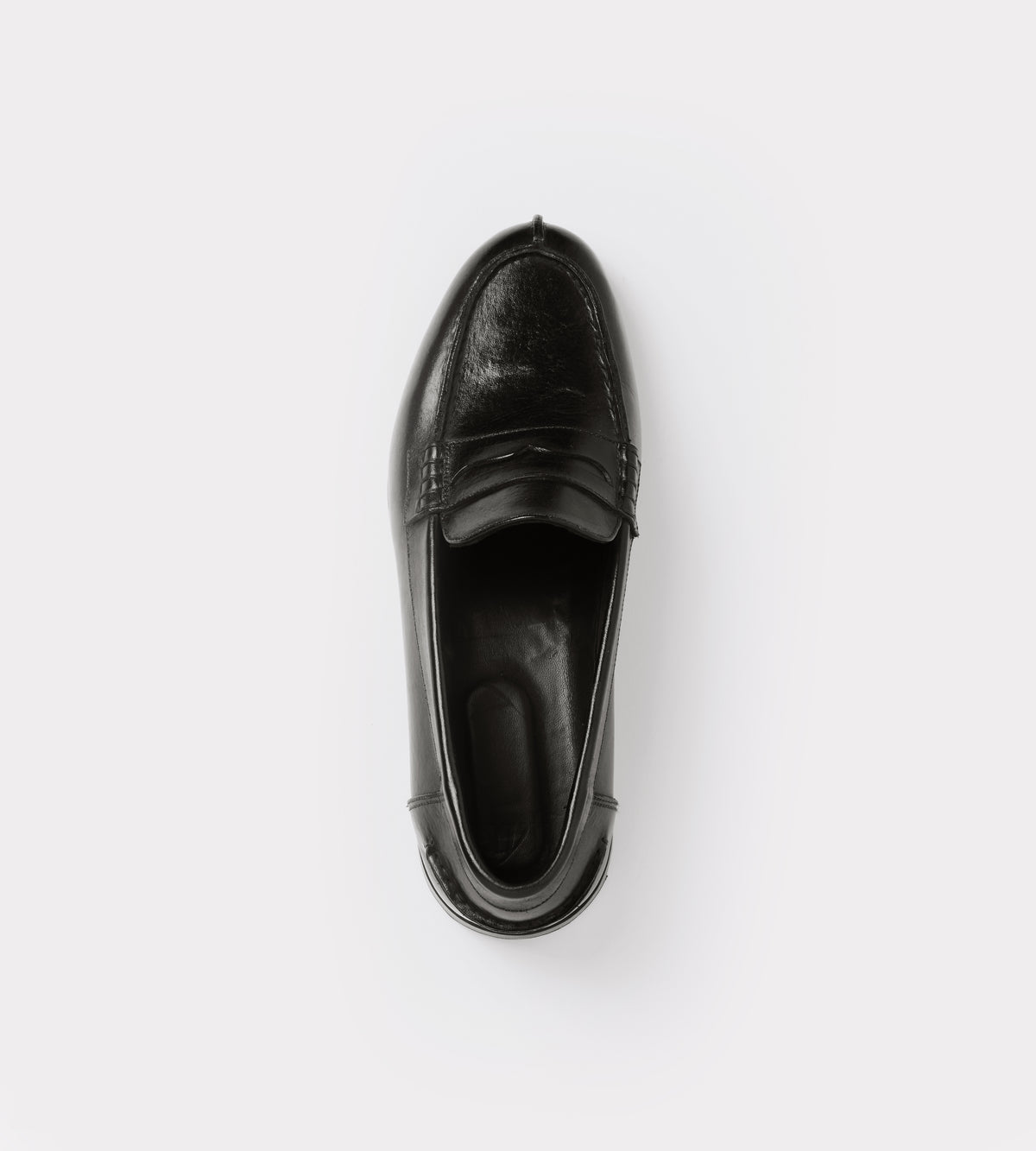 Black calf leather moccasin top view