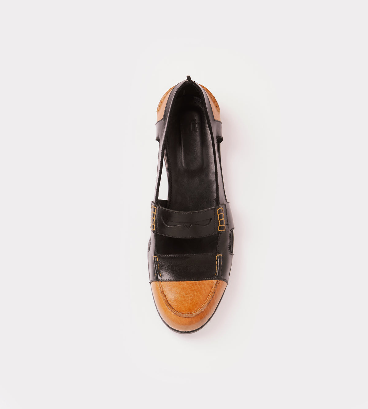 Black-natural calf leather open moccasin top view