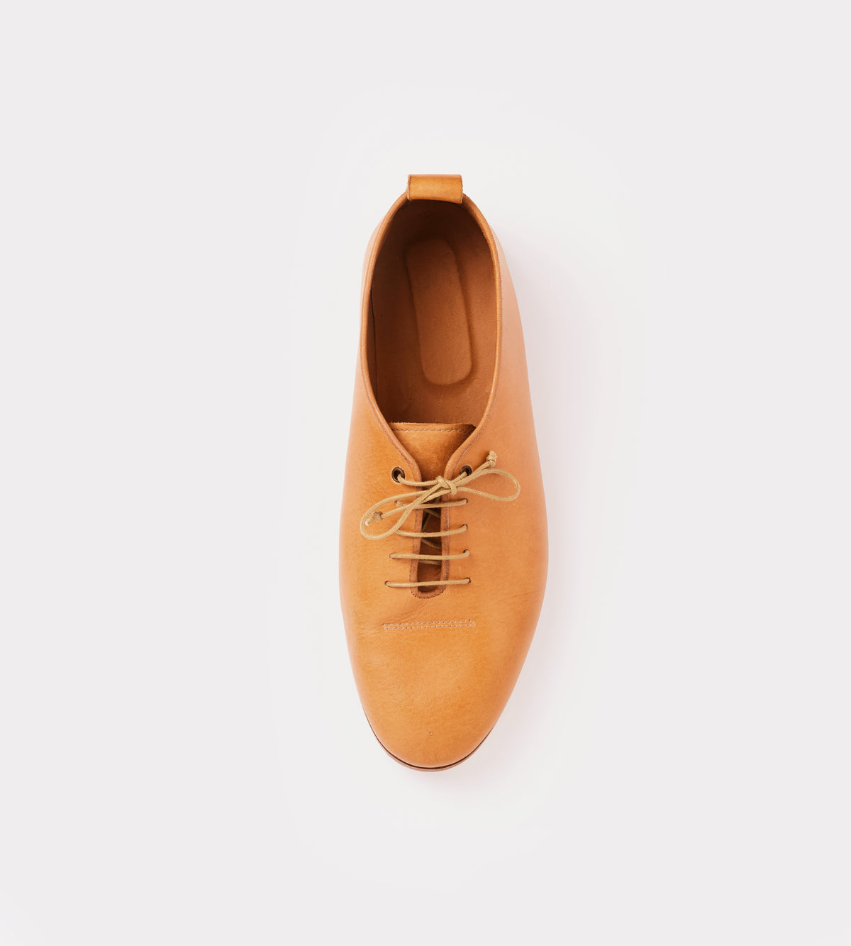 Natural calf leather wholecut soft shoe top view